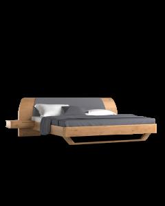 Łóżko Modesta, z drewnianymi frontami szafek nocnych