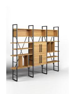 Regał na czterech podporach z przegrodami, niszami oraz szafkami Modesta